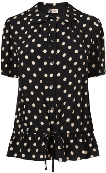 Boutique By Jaeger Polka Dot Gathered Blouse - Lyst