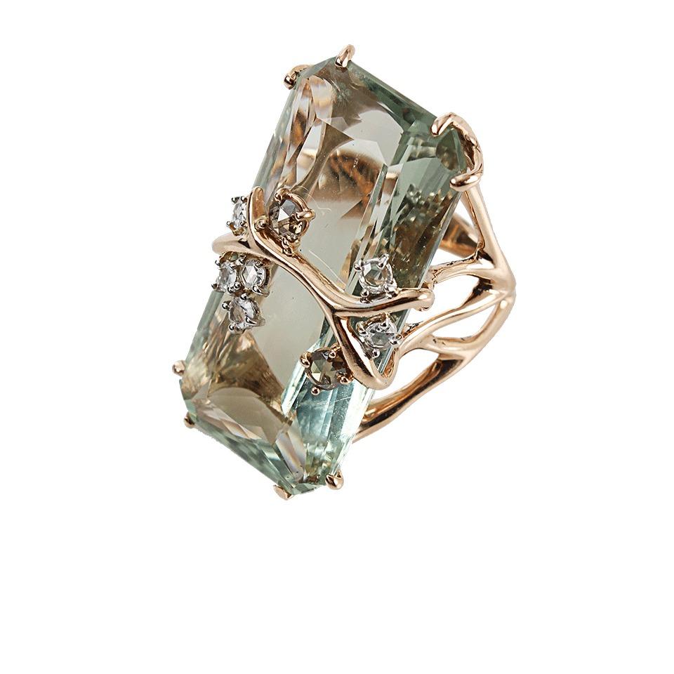 Federica Rettore Antique Cut Green Prasiolite Ring In