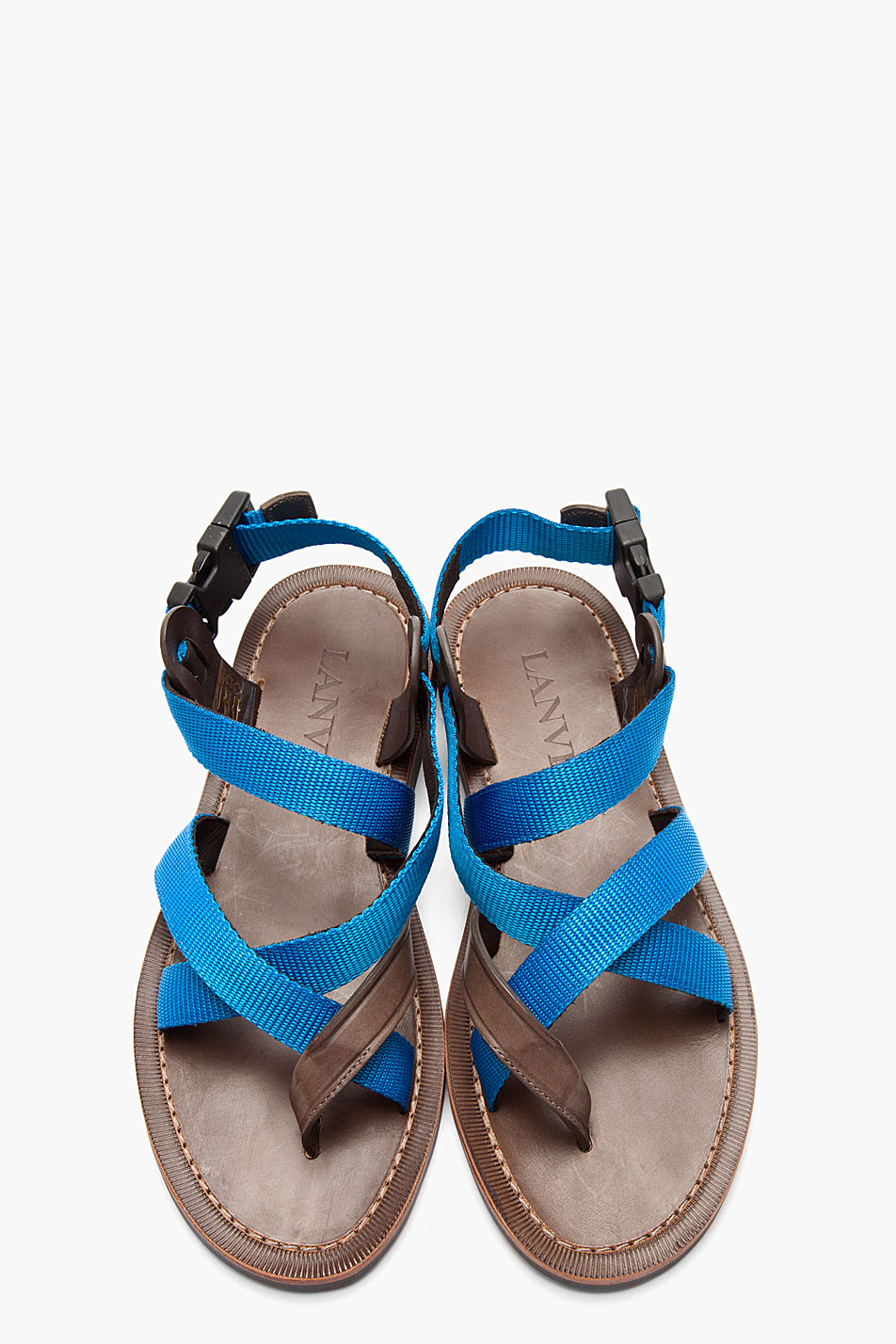 3c4955156227 Lyst - Lanvin Blue Brown Flat Leather Multistrap Sandals in Blue for Men