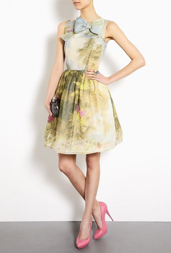 RED Valentino Hand Painted Floral Cotton Silk Dress - Lyst