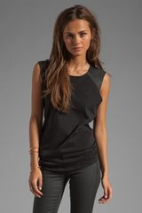 Michael Stars Leather Muscle Tank in Blackblack - Lyst