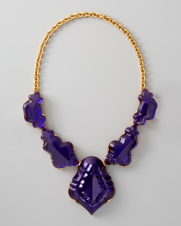 Lyst oscar de la renta resin chandelier necklace in purple gallery aloadofball Gallery