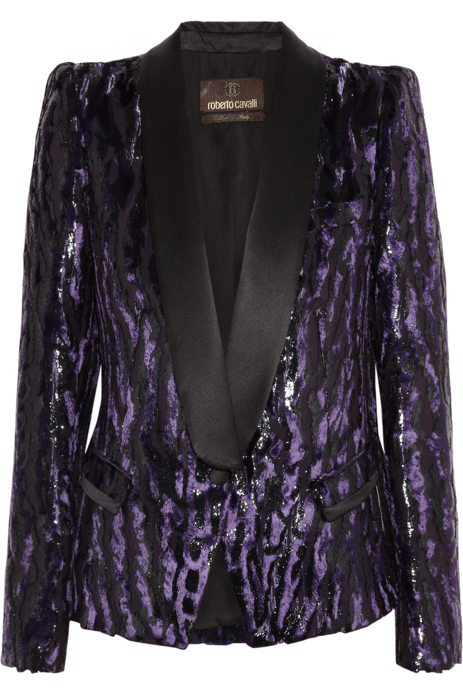 2c8415ae4e10 Roberto Cavalli Animalprint Brocade Tuxedo Jacket in Purple - Lyst