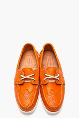 Thom Browne Orange Leather Wingtip Deck Shoes in Orange for Men - Lyst