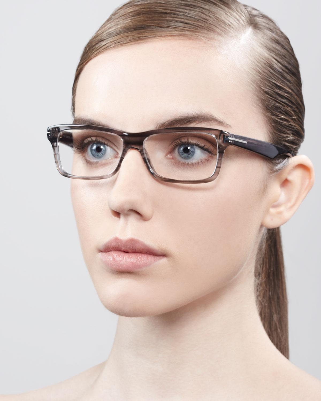 Tom Ford Unisex Soft Rectangular Fashion Glasses In Gray