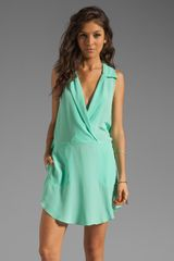 Tracy Reese Runway Soft Solids Surplice Shirtdress in Beach Glass - Lyst