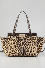 Valentino Rockstud Mini Leopardprint Calf Hair Tote Bag - Lyst