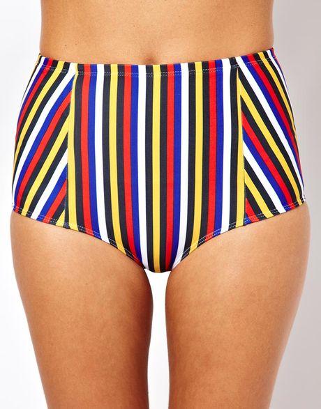 american apparel stripe tricot high waist bikini brief in. Black Bedroom Furniture Sets. Home Design Ideas