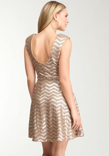 Bebe Chevron Sequin Flare Dress In Gold Champange Lyst