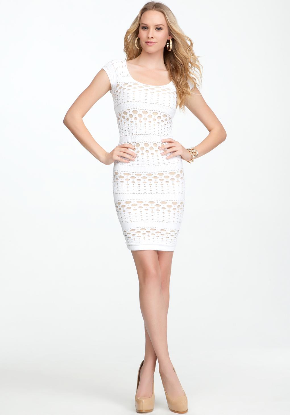 Bebe Sleeveless Keyhole Dress in White | Lyst
