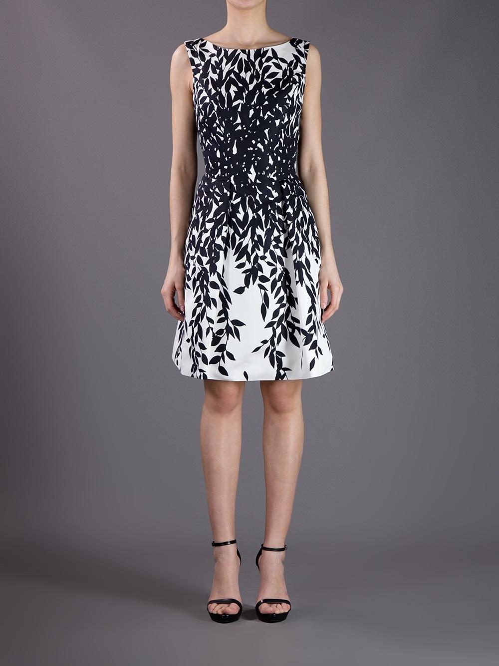 Lyst Blumarine Sleeveless Leaf Print Dress In White