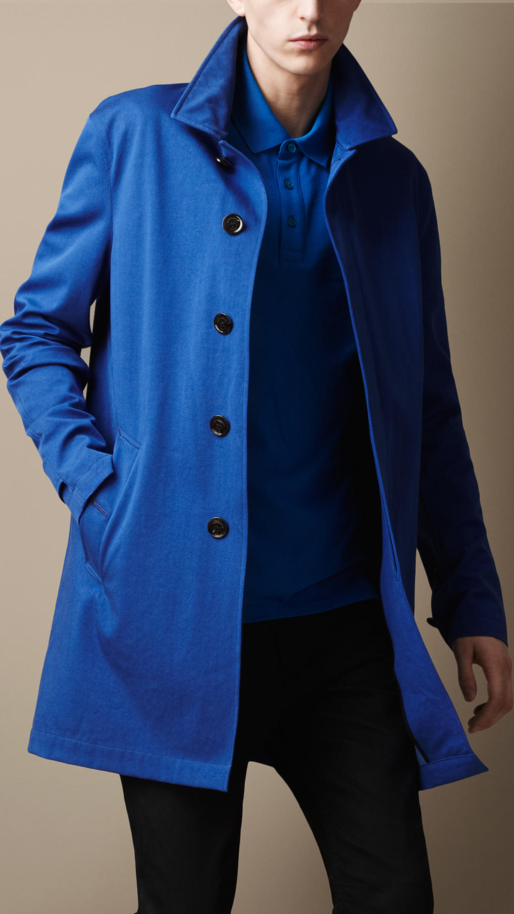 Burberry brit Midlength Single Breasted Trench Coat in Blue for ...