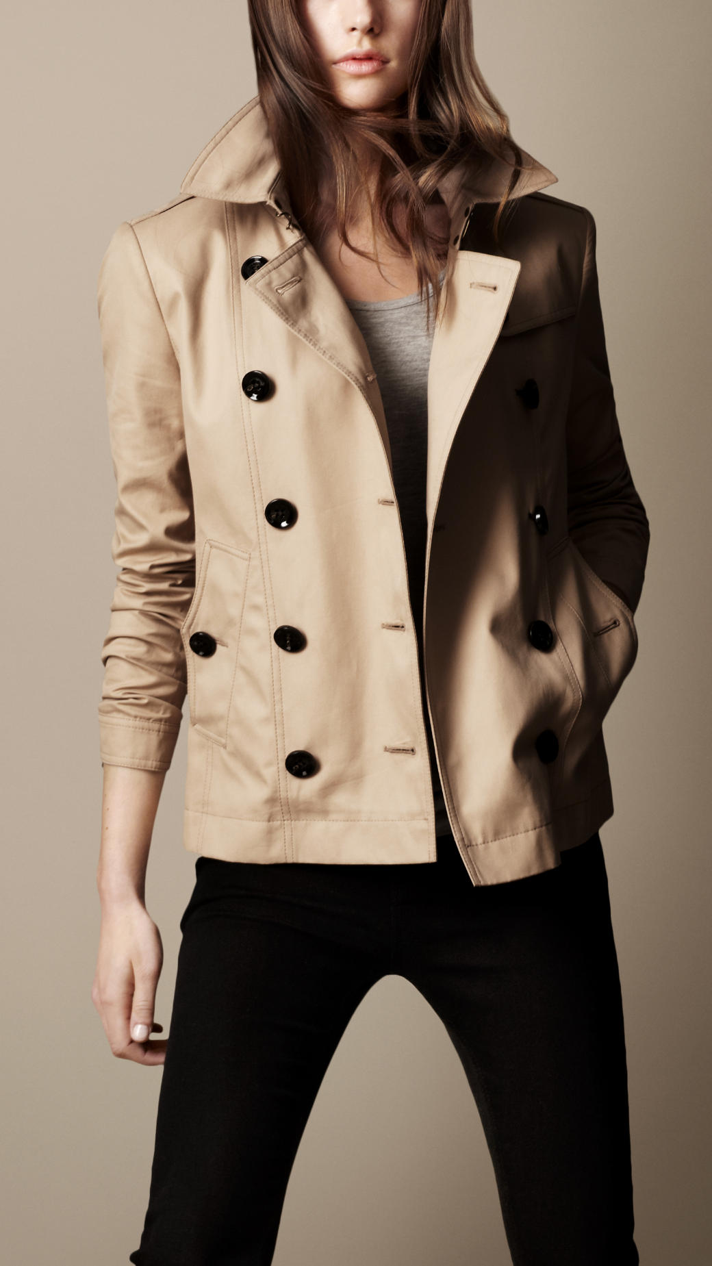 Burberry brit Short Cotton Trench Coat in Natural | Lyst