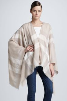 Burberry Check Wool Cape - Lyst