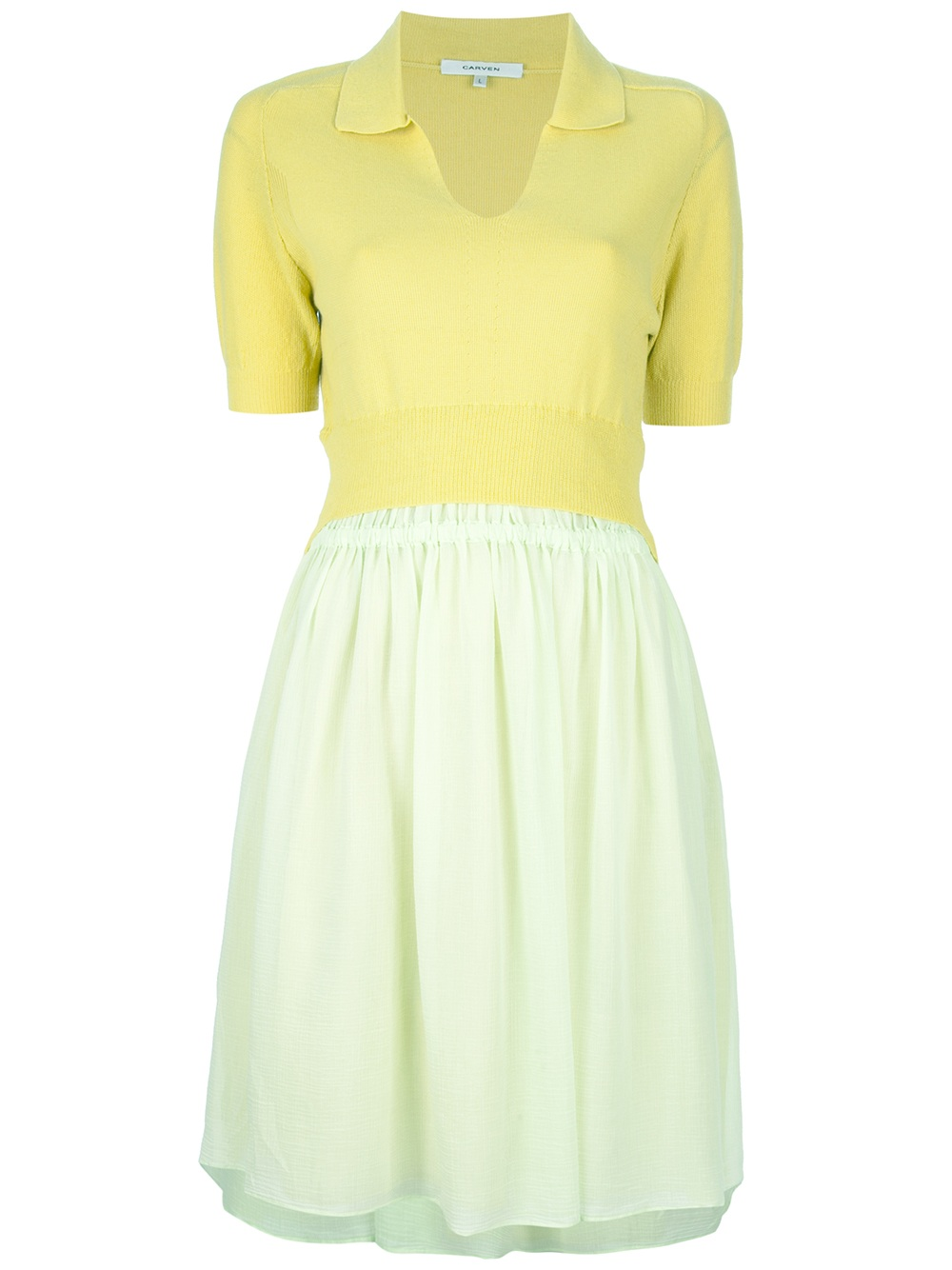 Carven Flared Skirt Dress In Yellow Lyst