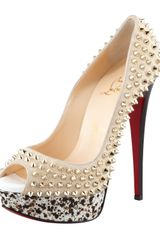 Christian Louboutin Dy Peep Spiked Suede Red Sole Pump - Lyst