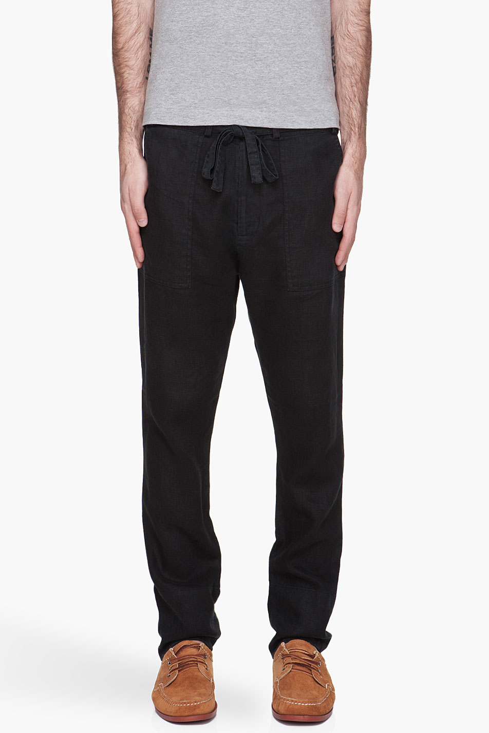 Drawstring Pants Linen Black Black Linen Drawstring Pants