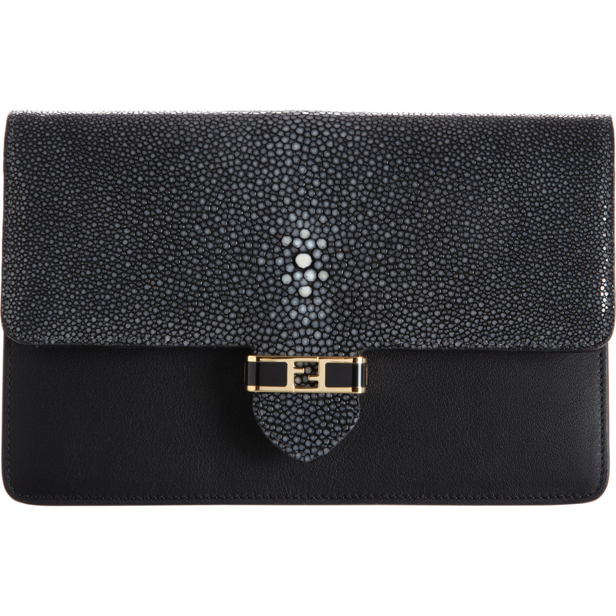 ... Fendi Shagreen Mini Clutch with Chain Strap in Black - Lyst new arrival  3d4fc 0b0d9  Fendi Black Leather ... 93c8e9737e6b7