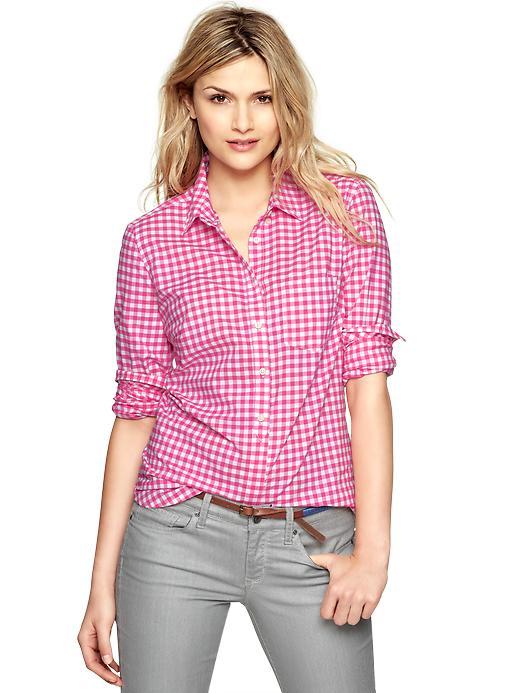 Gap shrunken boyfriend gingham shirt in pink pink gingham for Pink gingham shirt ladies