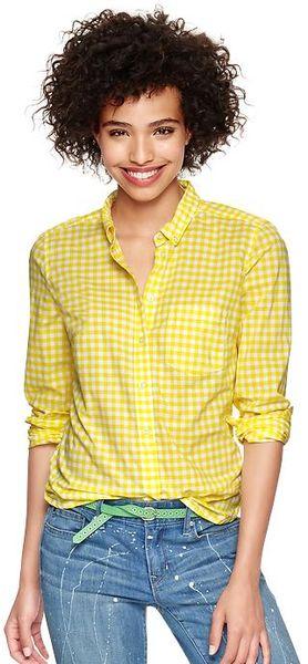 Yellow Gingham Shirt Women