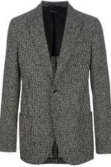 Giorgio Armani Tweed Single Button Blazer - Lyst