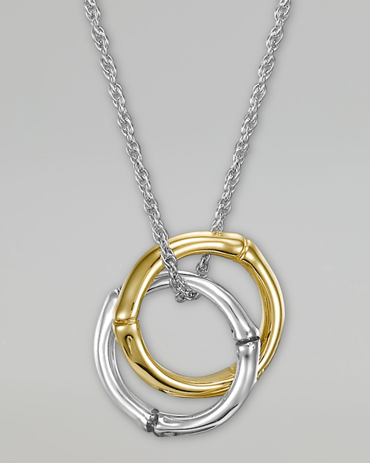 John Hardy Bamboo Gold Silver Small Round Pendant Necklace