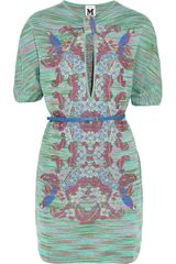 M Missoni Belted Knitted Dress - Lyst