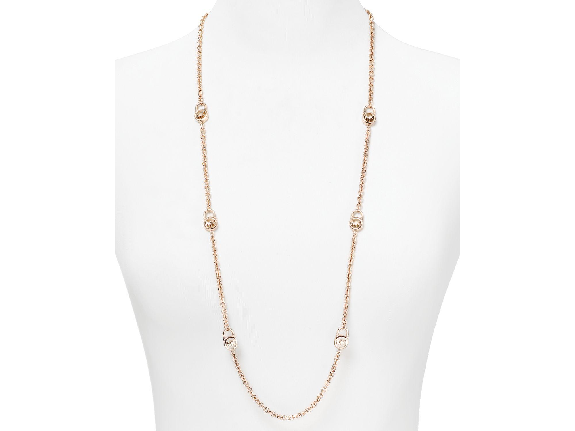 Lyst Michael Kors Multi Logo Padlock Necklace In Metallic