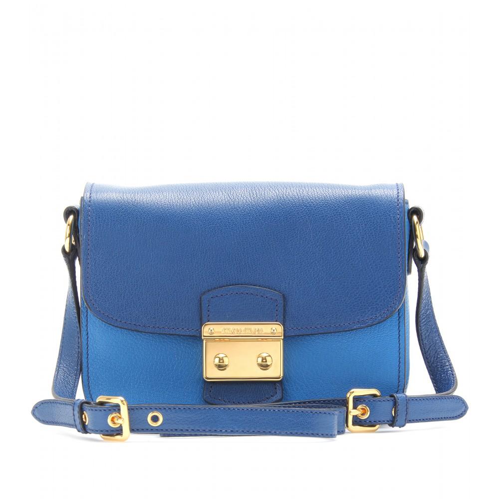 Lyst - Miu Miu Twotone Leather Shoulder Bag in Blue 3bb5626f8c252