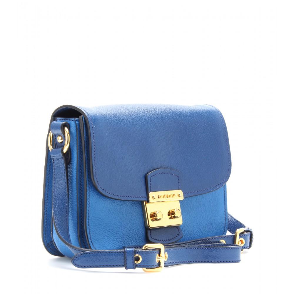 Miu miu Twotone Leather Shoulder Bag in Blue  40e8e31c68f33