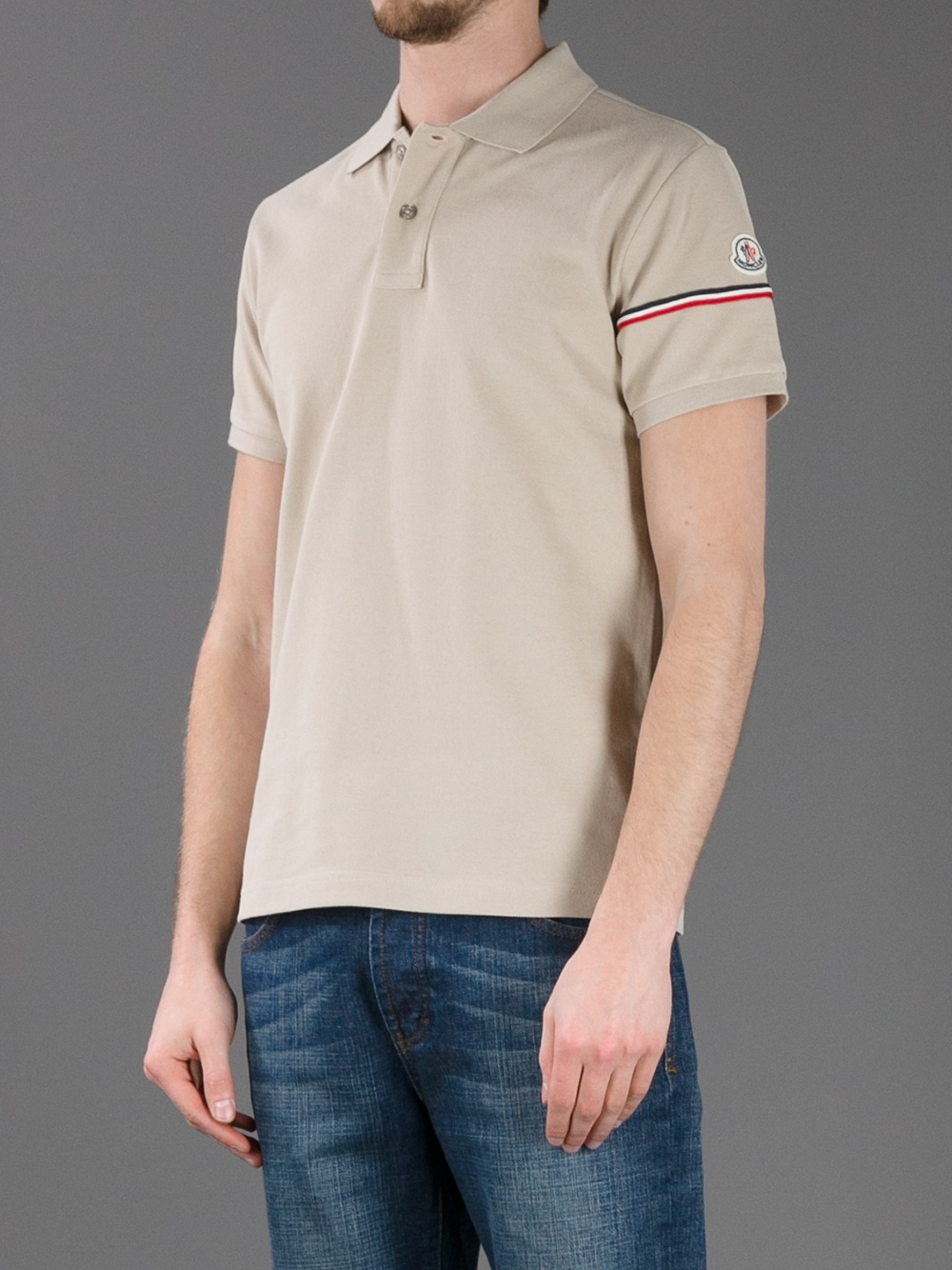 moncler polo shirt in beige for men lyst. Black Bedroom Furniture Sets. Home Design Ideas