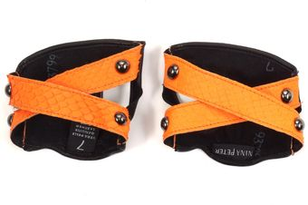 Nina Peter Neon Orange Python Cuffs - Lyst
