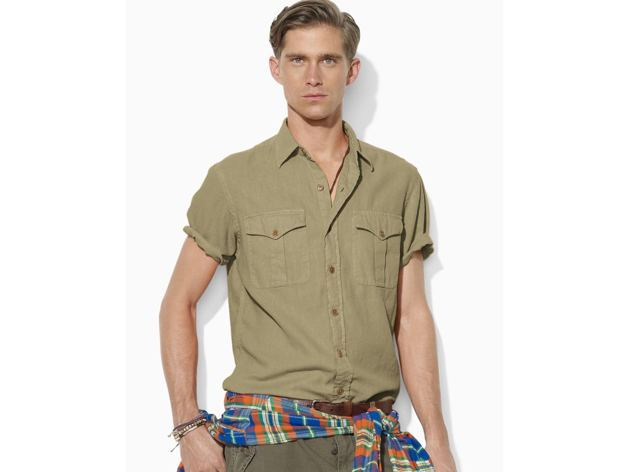 20b2ba013 Ralph Lauren Polo Shortsleeved Woven Military Safari Shirt in ...