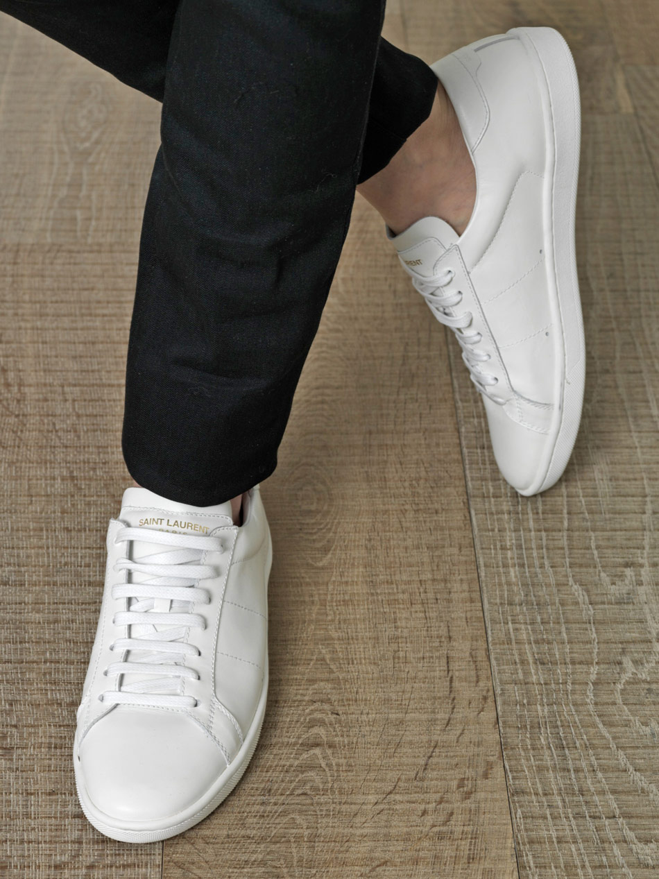 96a7f3d44e88c2 Lyst - Saint Laurent Leather Lace Up Trainers in White for Men