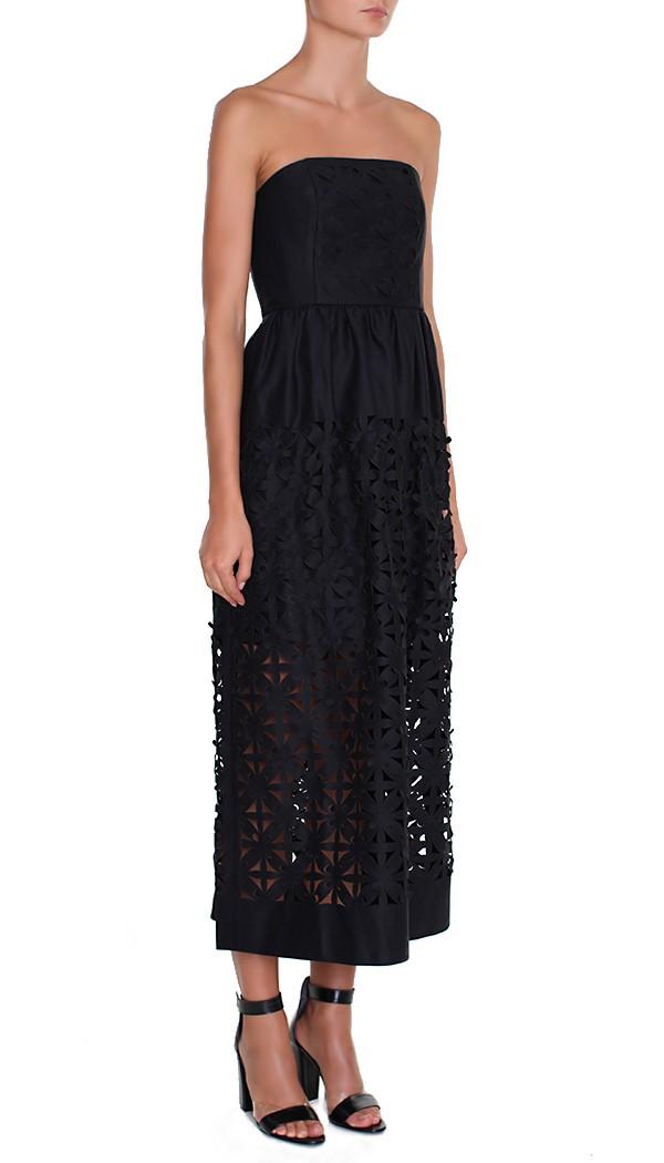 Tibi Pia Laser Cut Strapless Dress in Black - Lyst