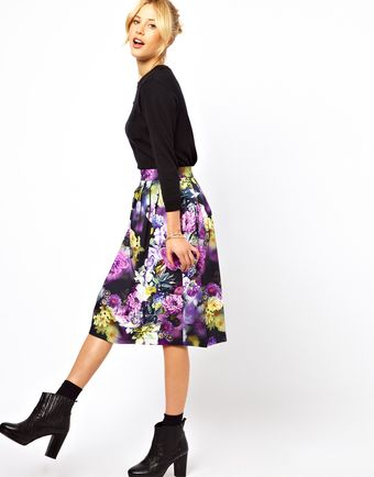 ASOS Collection Asos Midi Skirt in Statement Floral Print - Lyst