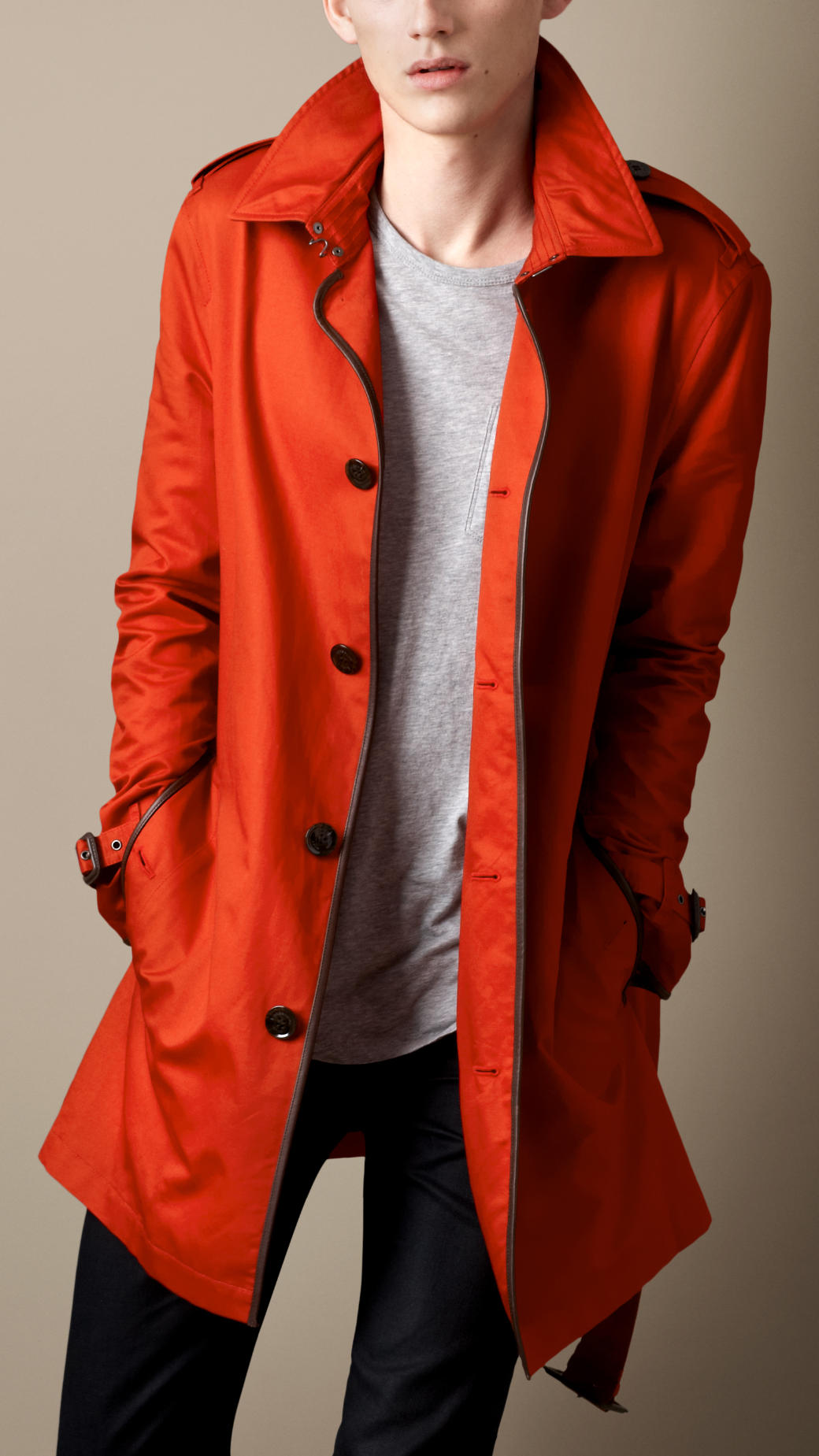 Burberry brit Midlength Leather Trim Trench Coat in Orange for Men ...