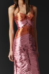 Burberry Prorsum Pleated Metallic Bustier Dress - Lyst
