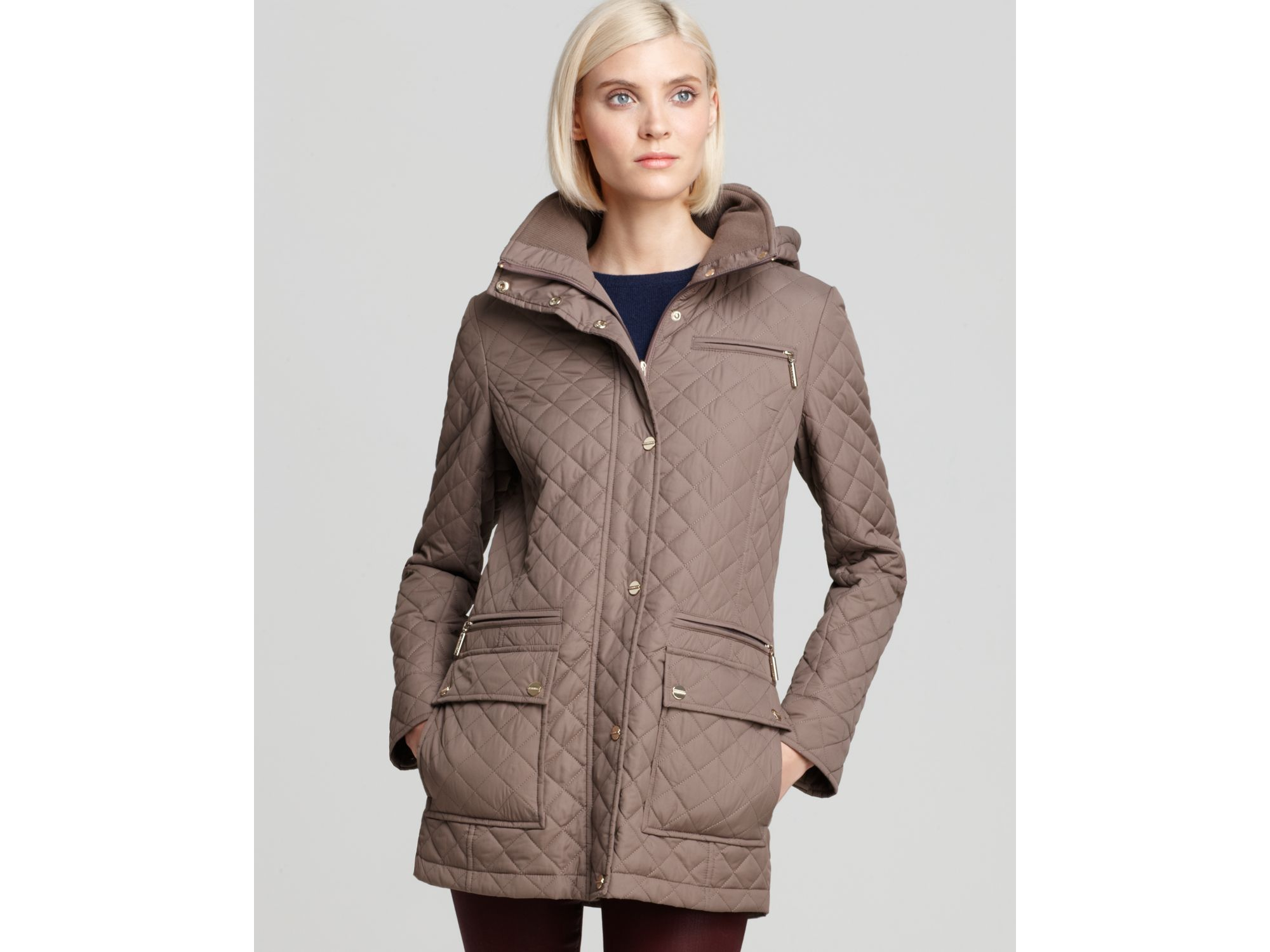 Calvin Klein Quilted Coat In Brown Lyst