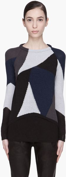 Damir Doma Blue Combo Kemi Knitted Sweater - Lyst