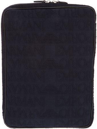 Emporio Armani Embossed Laptop Case - Lyst