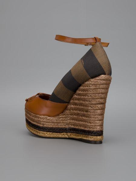 Fendi Striped Wedge Sandal In Brown Lyst