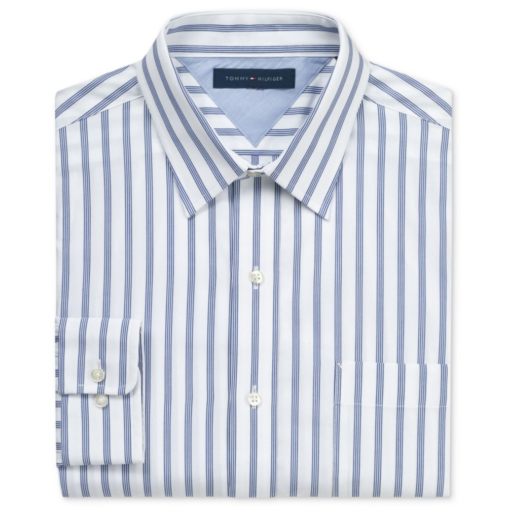 Tommy Hilfiger Wide Stripe Long Sleeve Shirt In White For
