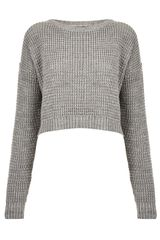 Topshop Knitted Textured Grunge Crop Jumper - Lyst