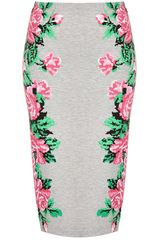 Topshop Pixel Flower Tube Skirt