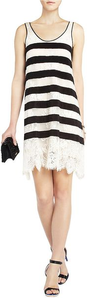 BCBGMAXAZRIA Augustin Striped Lace Tank Dress - Lyst