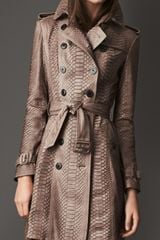 Burberry Long Python Leather Trench Coat - Lyst