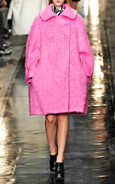 Carven Mohair Worsted Wool Oversize Coat in Cotton Candy Pink in Pink (cotton candy)