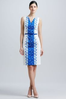 David Meister Sleeveless Printpanel Belted Dress - Lyst