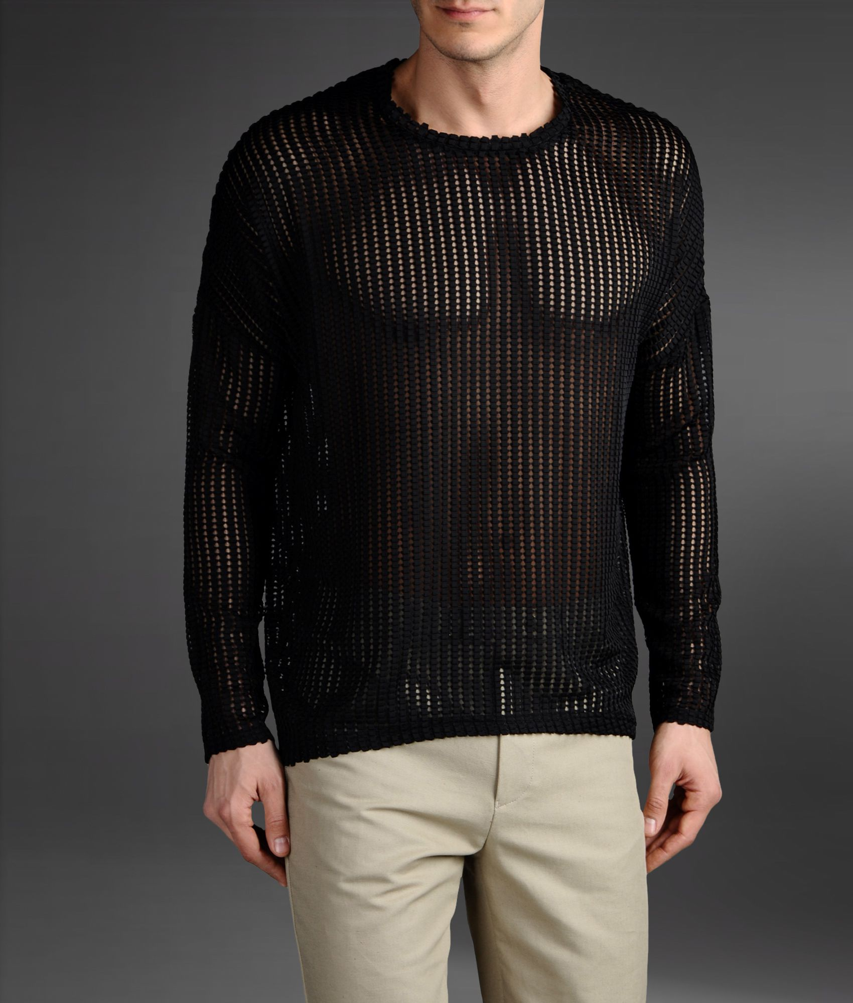 Emporio armani Origami Effect Mesh Sweater in Black for Men | Lyst